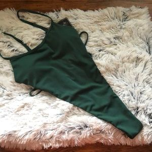 Green ribbed monokini